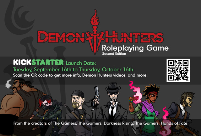 Demon Hunters RPG Kickstarter Postcard - Front